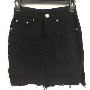 Boohoo Frayed Uneven Hi Low Hem Denim Skirt -Black